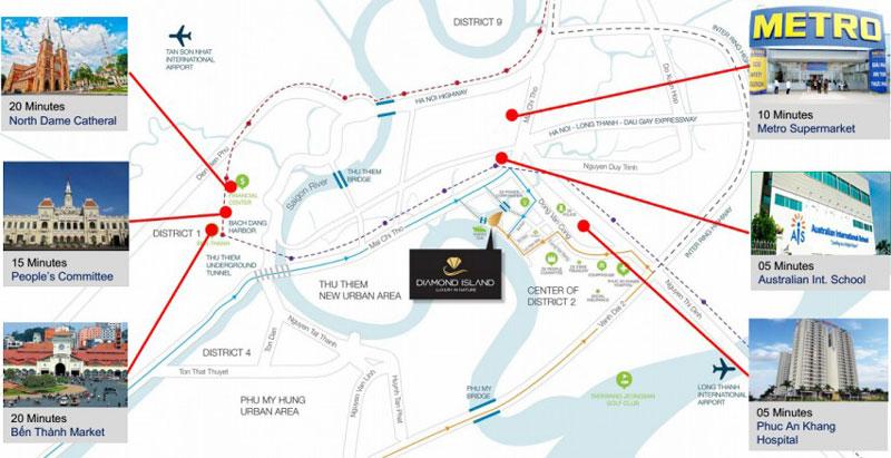 Hệ thống tiện ích ngoại khu đa dạng hoàn hảo từ dự án căn hộ Diamond Island quận 2