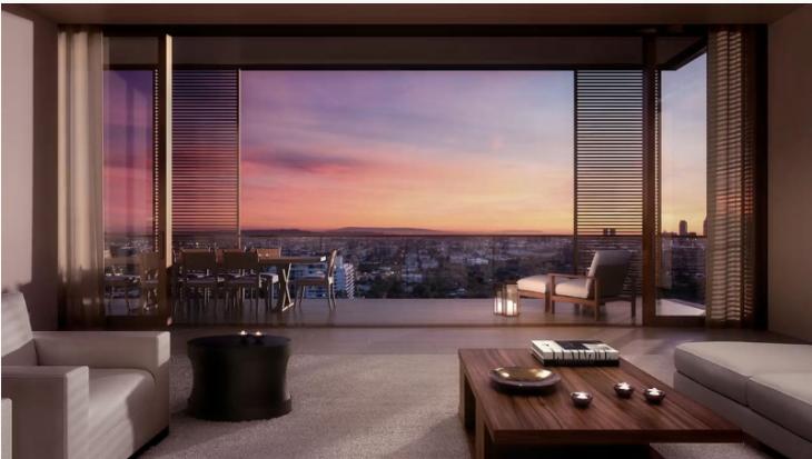 Thiết kế tối giản của John Pawson phá bỏ mọi ranh giới về không gian, đem cả bầu trời Hollywood vào tận thềm phòng khách căn hộ Edition, hoà quyện hoàn hảo vào hoàng hôn Los Angeles